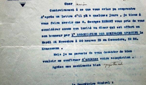 1936 – Lettre de Marcel Berger au directeur de l'INS