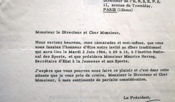 1964 – Lettre de Paul Vialar au directeur de l'ENSEPS